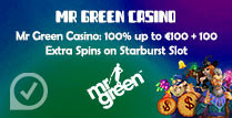 100% up to €100 + 100 Extra Spins on Starburst Slot